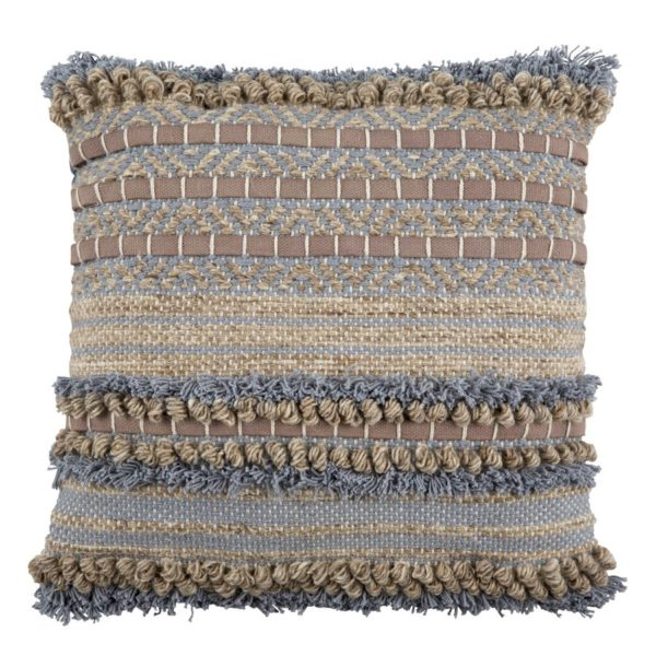 Handgewebtes Kissen in grau, blau und braun