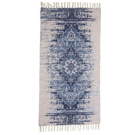 Handgemachter Teppich in blau und braun